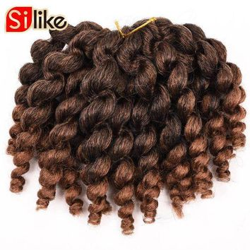 LMFOK5 Silike 6 packs/lot Ombre Crochet Jamaican Bounce Twist Braids 8' 22 Roots Jumpy Wand Curl Hair Extension African Collection Hair