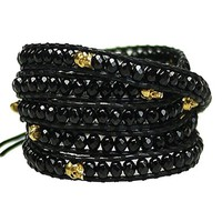 MJartoria Black and Gold Color Faceted Cut Beads on Leather 5x Wrap Bracelet with Adjustable Closures