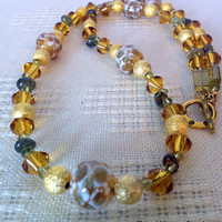 Yellow Beaded Necklace Hand Blown Glass Jewelry, Glass Blown Beads Green Baltic Amber  Yellow Necklaces Women