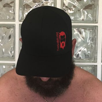 THIGHBRUSH - FlexFit Hat - Black with Red - #THIGHBRUSHNATION