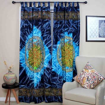 Handmade 100% Cotton Celtic Wheel of Life Batik Curtain Drape Panel Blue 44x88
