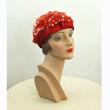 1960s hat red sequin hat beret snood crochet beanie De Pinna Size 22 Made in Italy