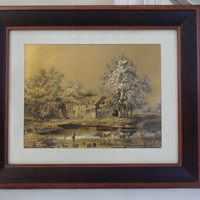 gold foil art print framed picture wall hanging Currier and Ives- Return from Pasture