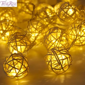 FENGRISE 2m 20 Rattan Ball Led String Lights Fairy Christmas Light String Party Birthday Wedding Tree Ornaments Xmas Decor