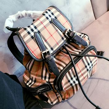 Free shipping-Burberry classic printed plaid backpack