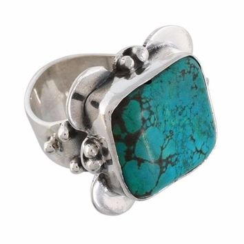 Arvino Rough Turquoise Gemstone 925 Sterling Silver Ring