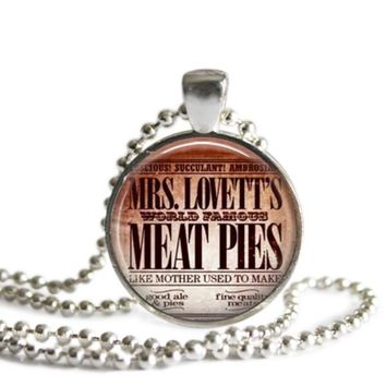 Sweeny Todd Broadway Musical Mrs. Lovett's Meat Pies Silver Plated Pendant Necklace or Keychain