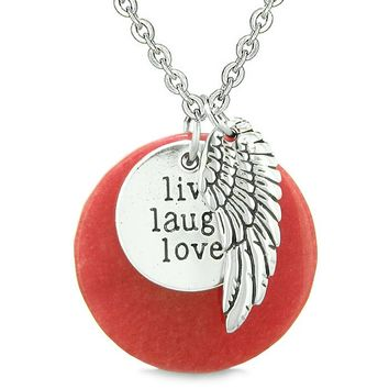 Guardian Angel Wing Live Laugh Love Inspirational Medallion Magic Amulet Red Quartz Necklace