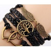 Tree of Life Love Angel black Bracelet