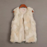White Faux Fur Sleeveless Coat