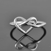 infinity ring, heart ring, sterling silver ring, infinity heart ring, love knot ring, heart knot ring,