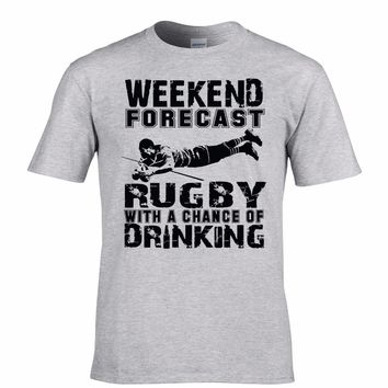 Weekend Forecst Rugby With A Chance Of Drinking Print T-Shirt - Men's T-Shirts