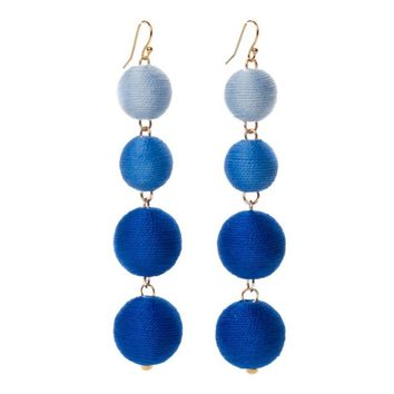 Pom Bon Earrings in Blue Ombre