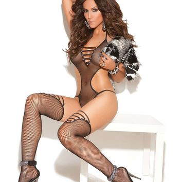 Fishnet teddy and matching stockings with rhinestone accents  Black One Size