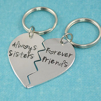 Always Sisters Forever Friends Broken Heart Keychain Set
