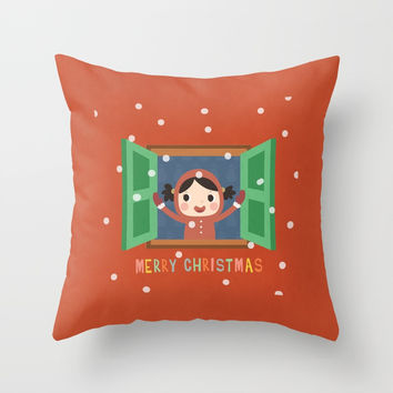 Day 20/25 Advent - Christmas Morning Throw Pillow by lalainelim