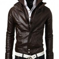 Wholesale New Style Men's Stand-up Collar Leather Coat Coffee