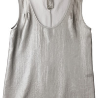 ROMWE | Metallic Coated Silver Sleeveless Shirt, The Latest Street Fashion