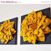 "MOTHERS DAY SALE Two Flower Wall Hangings -Mustard Dahlia on Charcoal 12 x12"" Canvas Wall Art- 3D Felt Flower"