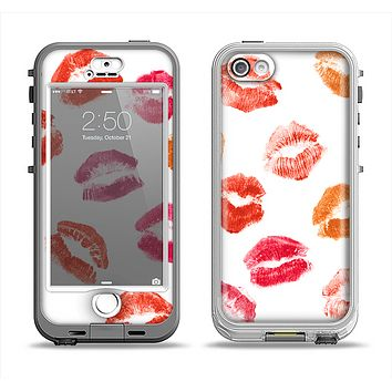 The White with Colored Pucker Lip Prints Apple iPhone 5-5s LifeProof Nuud Case Skin Set