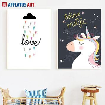 Cartoon Unicorn Cloud Quotes Wall Art Canvas Painting Nordic Posters And Prints Animal Nursery Wall Pictures For Kids Room Decor