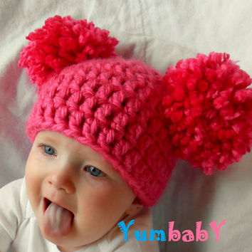 Newborn Baby Hat Girl Hats Chunky Pink White Blue Black by YumbabY