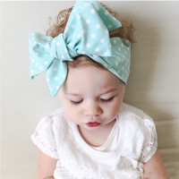 Baby big bowknot  yourself  cute dot print baby girls bow headband headwrap children hair accessory