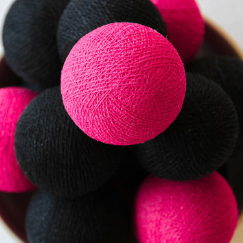 Cotton Ball Patio Light String, Outdoor, Fairy, Wedding Decor, Holiday, Party - Shocking Pink & Black