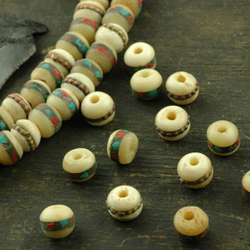 White Bone Beads with Inlaid Brass, Turquoise & Coral / 8mm Round, 10 beads / Natural, Yak Bone Beads from Nepal / Boho Craft Supplies