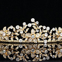 Flower Leaf Bridal Wedding Tiara Crown - Clear Crystals Gold Plating T656 by Venus Jewelry