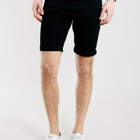 BLACK SKINNY FIT DENIM SHORTS - Men's Shorts - Clothing
