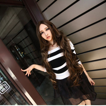 2015 New Fashion Boring Blue Highlights Flaxen Parted Bangs Long Bangs Curly Hair Wigs Cosplay Wig anime stuff Lolita harajuku kawaii wig/wigs