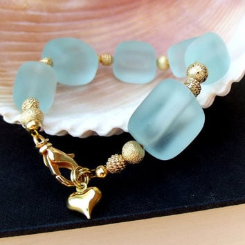 Aqua Sea Glass Bracelet: Seafoam Green & Gold Heart Beaded Chunky Bold Statement Beach Jewelry, Mint Green Valentine's Day