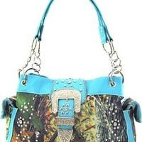 Western Cowgirl Camouflage Rhinestone Buckle Canvas Camo Satchel Purse (Blue)