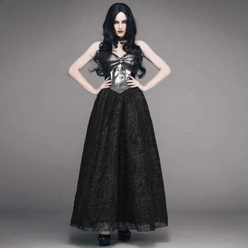 Eva Lady Gothic Sleeveless Vintage Strap Dress Steampunk Noble Woman Long Dress With Forest Elks Printing