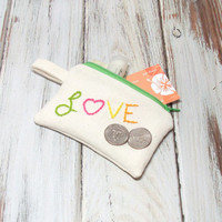 Love Coin Purse - Small Cosmetic Bag - Small Zipper Bag - Orange Yellow Pink Green - Zipper Pouch - Change Purse