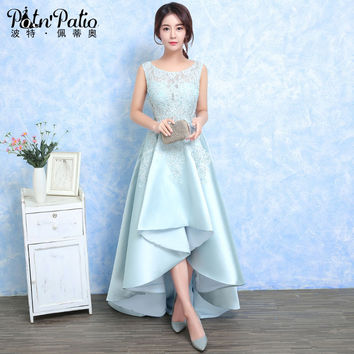 PotN'Patio Light Blue High/Low Evening Dress Shoulder Straps Sleeveless Long Prom Dresses 2017