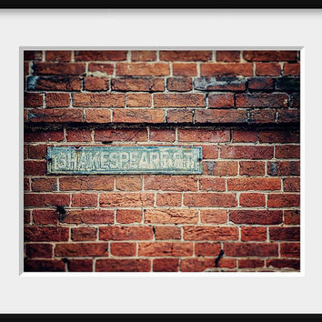 Shakespeare Street Baltimore Photography Fell's Point Maryland Picture Dorm Rustic Home Decor Brick Red Brick Dorm Room 8x10.