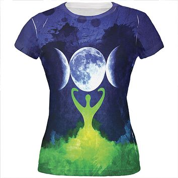 Wiccan Moon Goddess Mother Earth Symbol All Over Juniors T Shirt