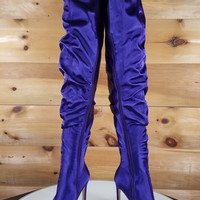 Purple Satin Slouchy Shaft Pointy Toe OTK Thigh Boot High Heels