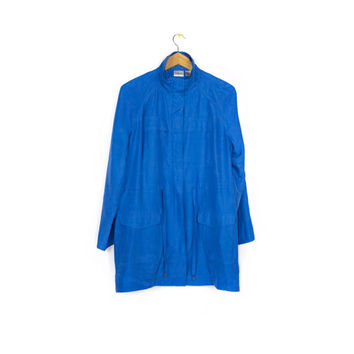 blue silk coat - chico's jacket - womens