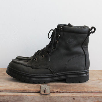 Vintage 90s Black Leather Platform Combat Boots | sz 8.5