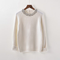 2017 New Hot Fashion Women Sweater Beading O-Neck Solid Casual Slim Ladies Cashmere Sweater Pullover Spring Autumnn Winter B181