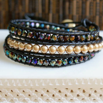Wrap bracelets COMBO, Black Leather Bohemian jewelry, beach jewelry, boho chic, surfer, antique gold, crystals