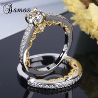 Bamos Vintage Silver & Gold Color Engagement Ring Set Exquisite Cubic Zirconia Wedding Rings For Women Luxury Birthstone Jewelry