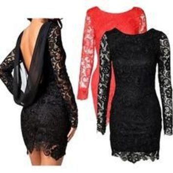 Plus Size Women 2016 Sexy Backless Lace Long Sleeve Evening Party Cocktail Prom Mini Dress S-3XL [8321422599]