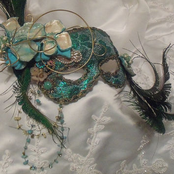 Masquerade Ball Mask, Elegant Mardi Gras Mask, Turquoise n Peacock Feathers, Vintage Bejeweled, OOAK by Marelle