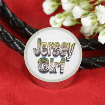 Jersey Girl Leather Charm Bracelet - hand drawn by ZenJoanie
