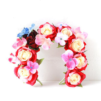 red floral headband // flower crown, rose statement headpiece, festival crown, lana del rey, fascinator, spring racing, hair