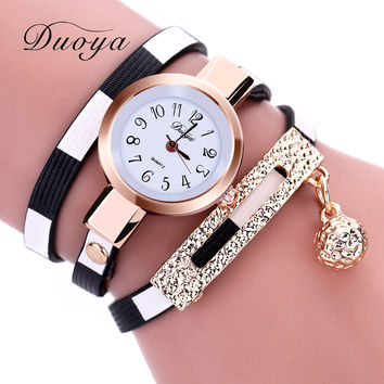 Duoya 2016 New Fashion Watches Women Gold Band Stripe Style Luxury Women Bracelet Watch Female Leather Dress Quartz Wristwatch